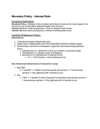 Monetary Policy - Interest Rate