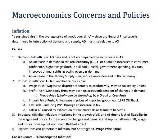 Macroeconomics Concerns and Policies Notes