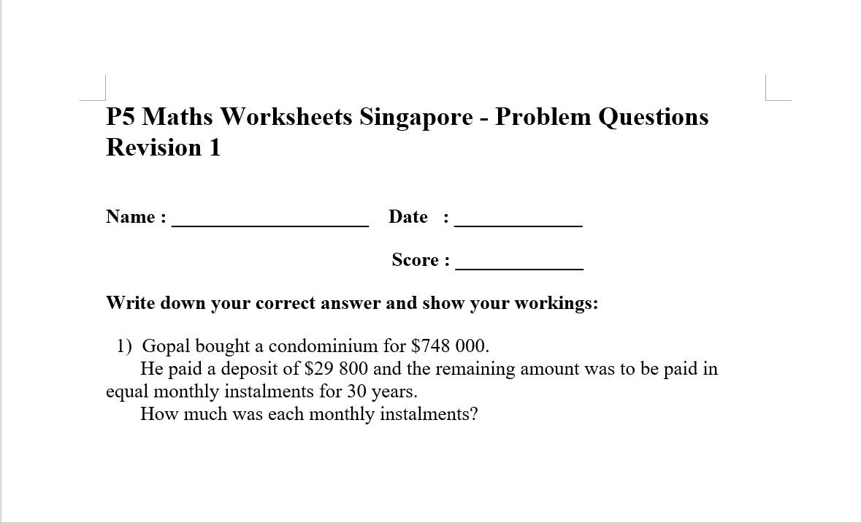 P5 Maths Revision Exercise (Problem Sums)
