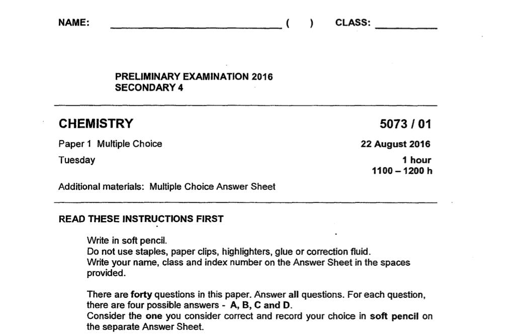 SJI 2016 Chemistry Prelim Paper