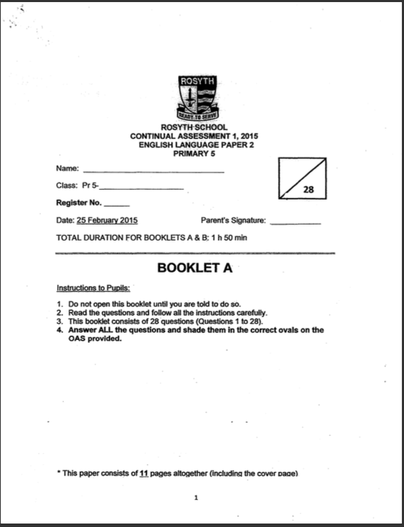 2015  P5 English CA1 Rosyth Exam Papers