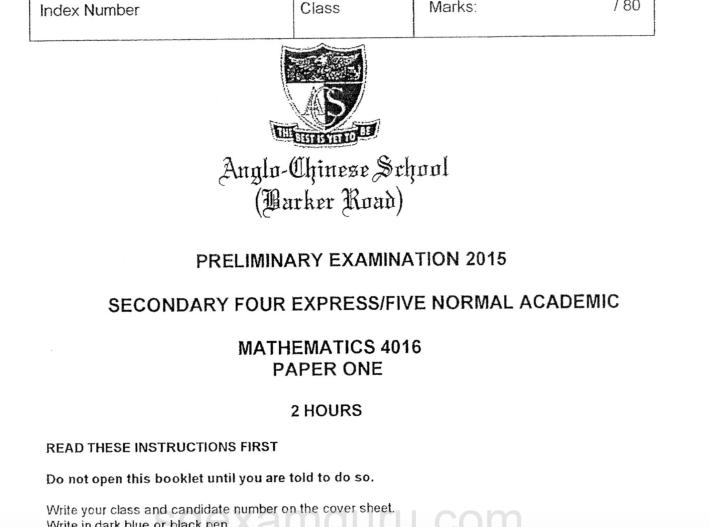 2015 E Math Prelims ACS Barker Rd