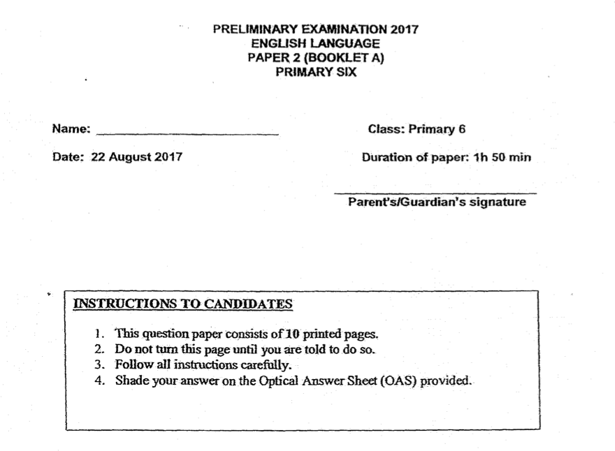 ACS 2017 English P6 Prelim Paper