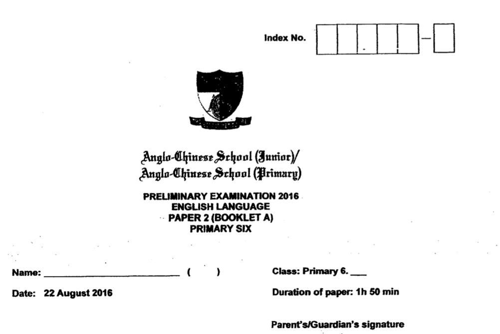 ACS P6 2016 English SA2 Paper