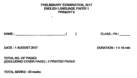 P6 English Pre 2017 St Hilda Difficult Exam Papers