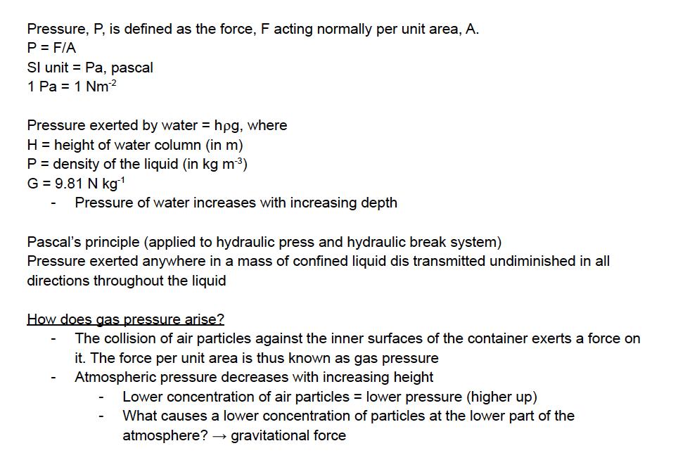 O Level/IP physics -pressure notes