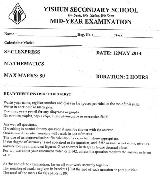 Math Sec 1 2014 Yishun Sec