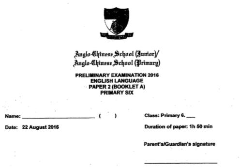 2016 P6 English SA2 Anglo Chinese Exam Papers