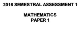 P5 Maths SA1 2016 Red Swastika Exam Papers