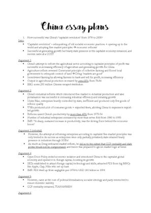 Global Economy_China_Essay Outlines