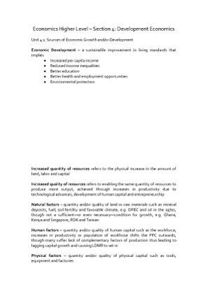 Economics Notes – Section 4.1-4.8
