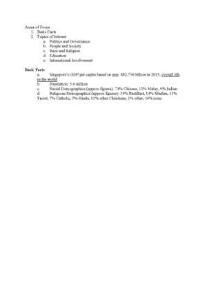 Basic info on Singapore