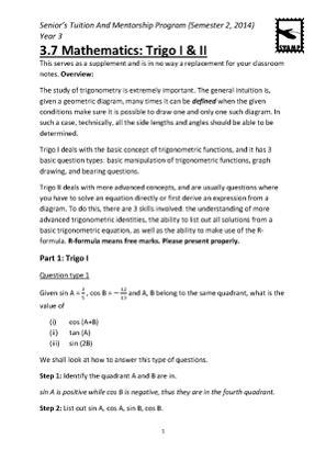 STAMP 3.7 Math - trigo I and II