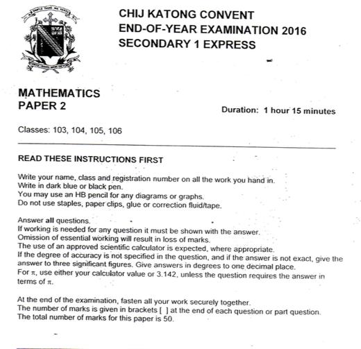Math Sec 1 2016 CHIJ Katong Sec