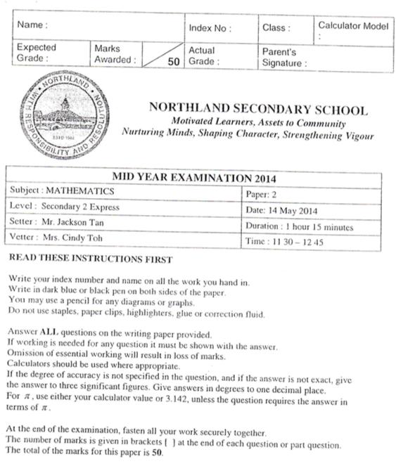 Math Sec 2 2014 Northland Sec