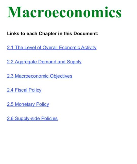 Macroeconomics Notes